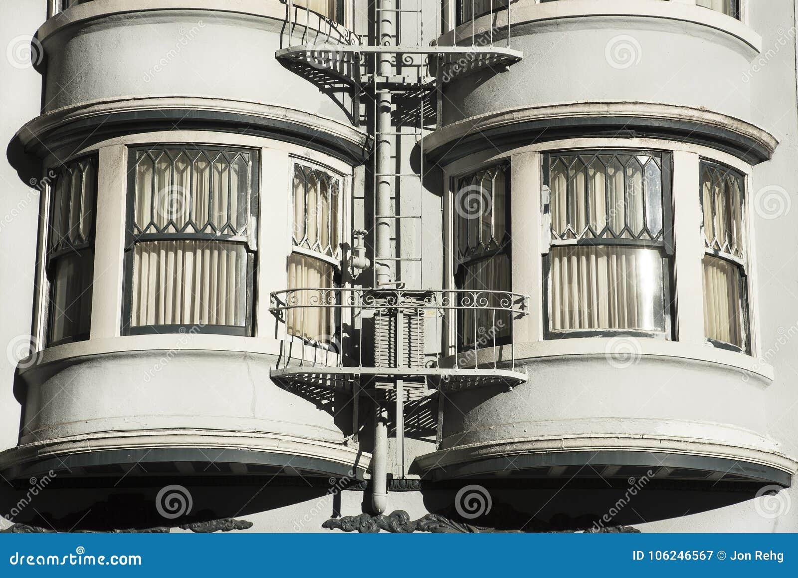 Bay Windows Apartment Building San Francisco City Stock ...
