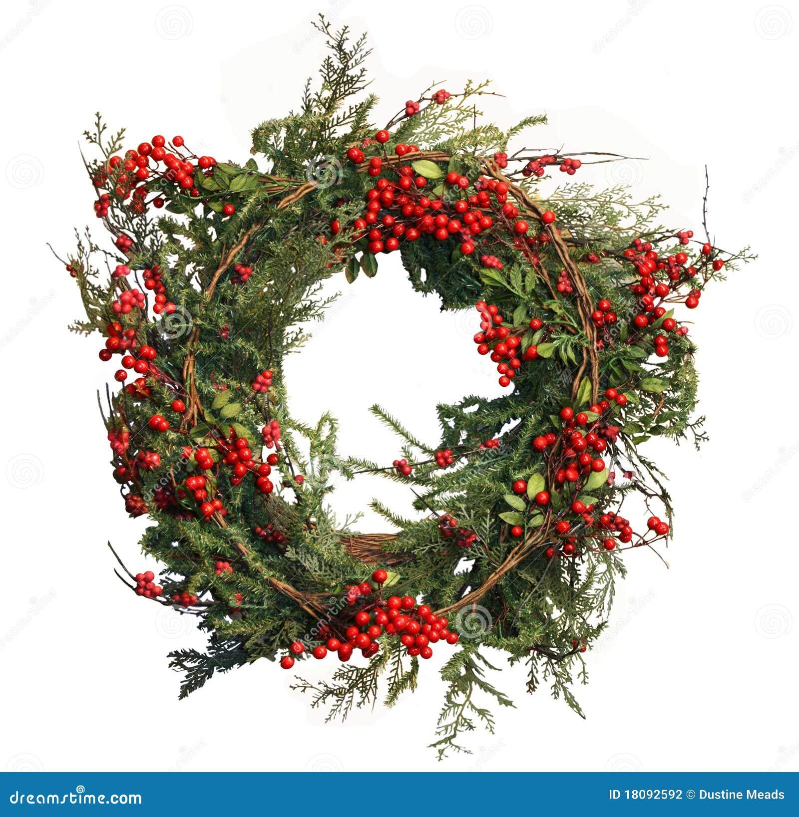Baya del acebo y guirnalda de la Navidad del pino