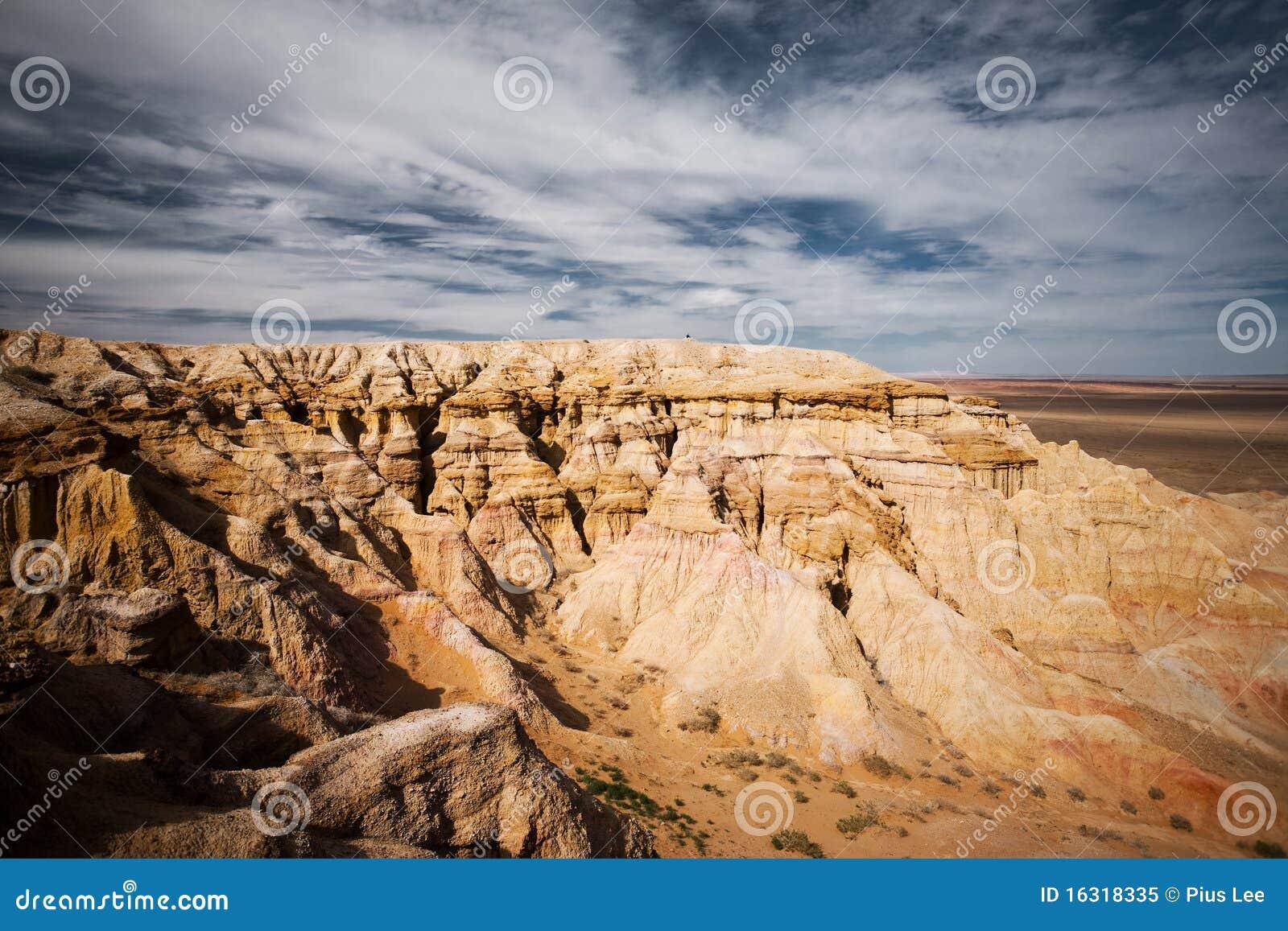 Bayanzag峭壁离开发火焰的gobi蒙古端