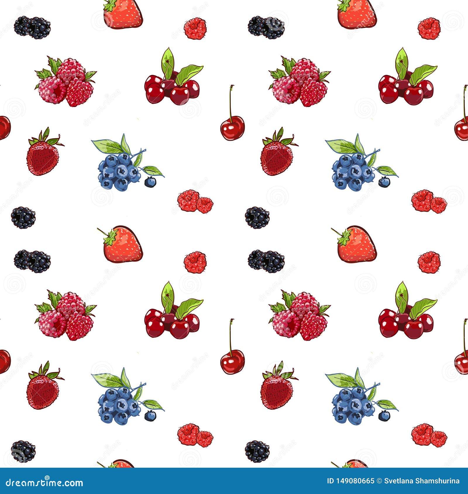 Bayas drawnseamless del modelo de la mano del marcador en bandera r frambuesa colorida, fresa, ar?ndano de la cereza