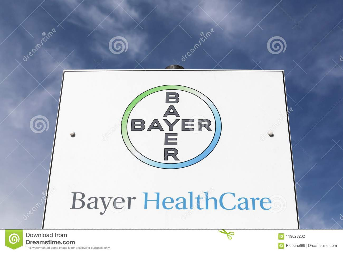 Bayer Healthcare Logo On A Panel Editorial Photography Image Of
