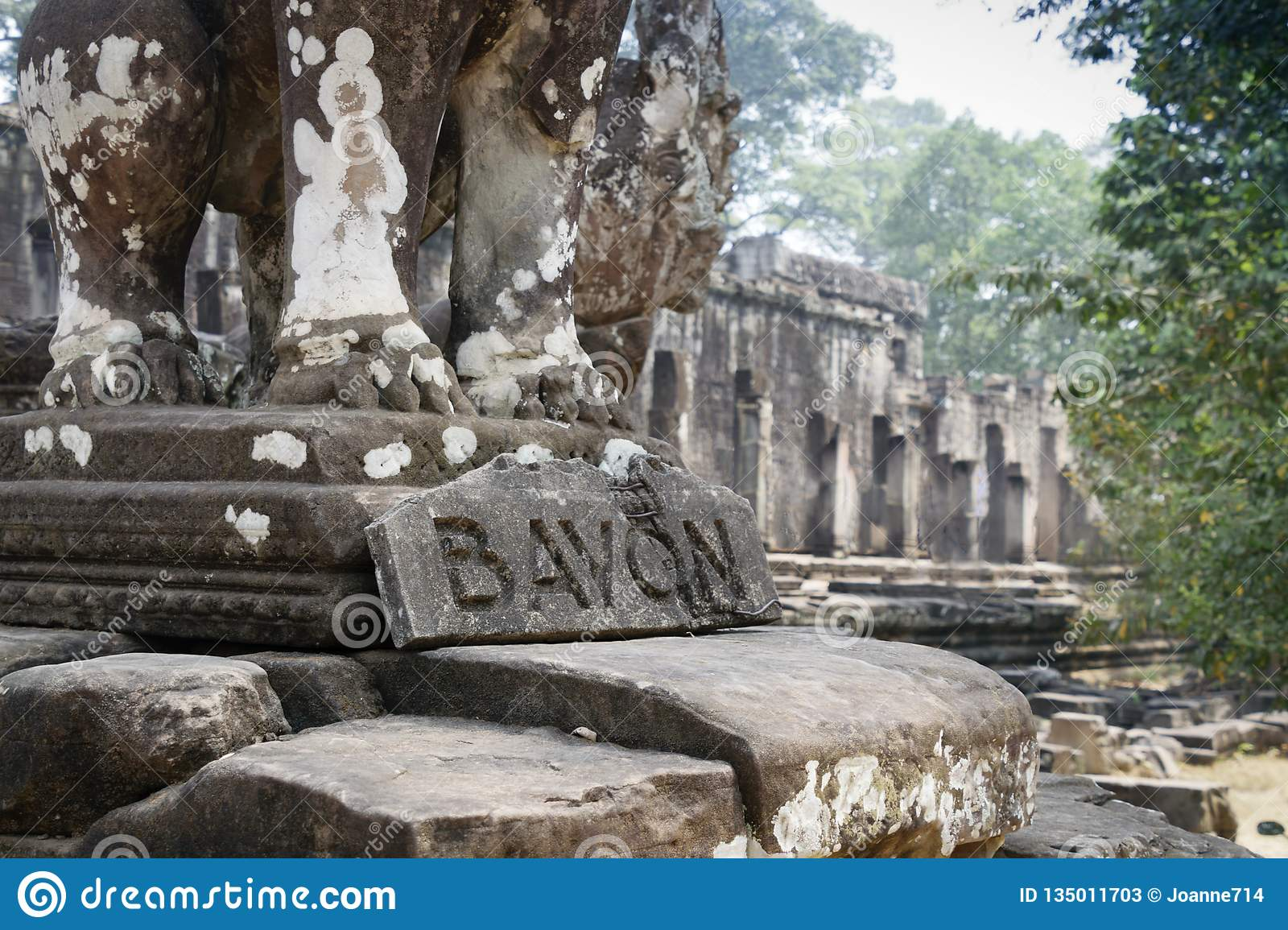 Bayon is remarkable for the 216 serene and smiling stone faces on the many towers jutting out from the high terrace and cluster