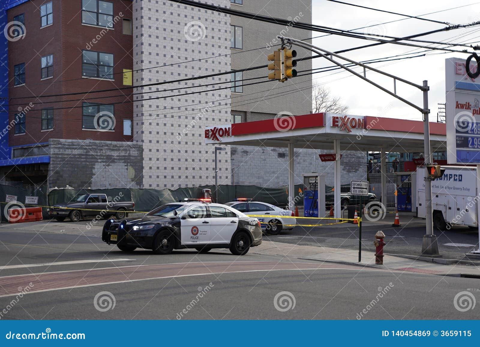 Bayonne, NJ, USA. 02.25.2019 Scaffolding issue near 22nd street light rail station