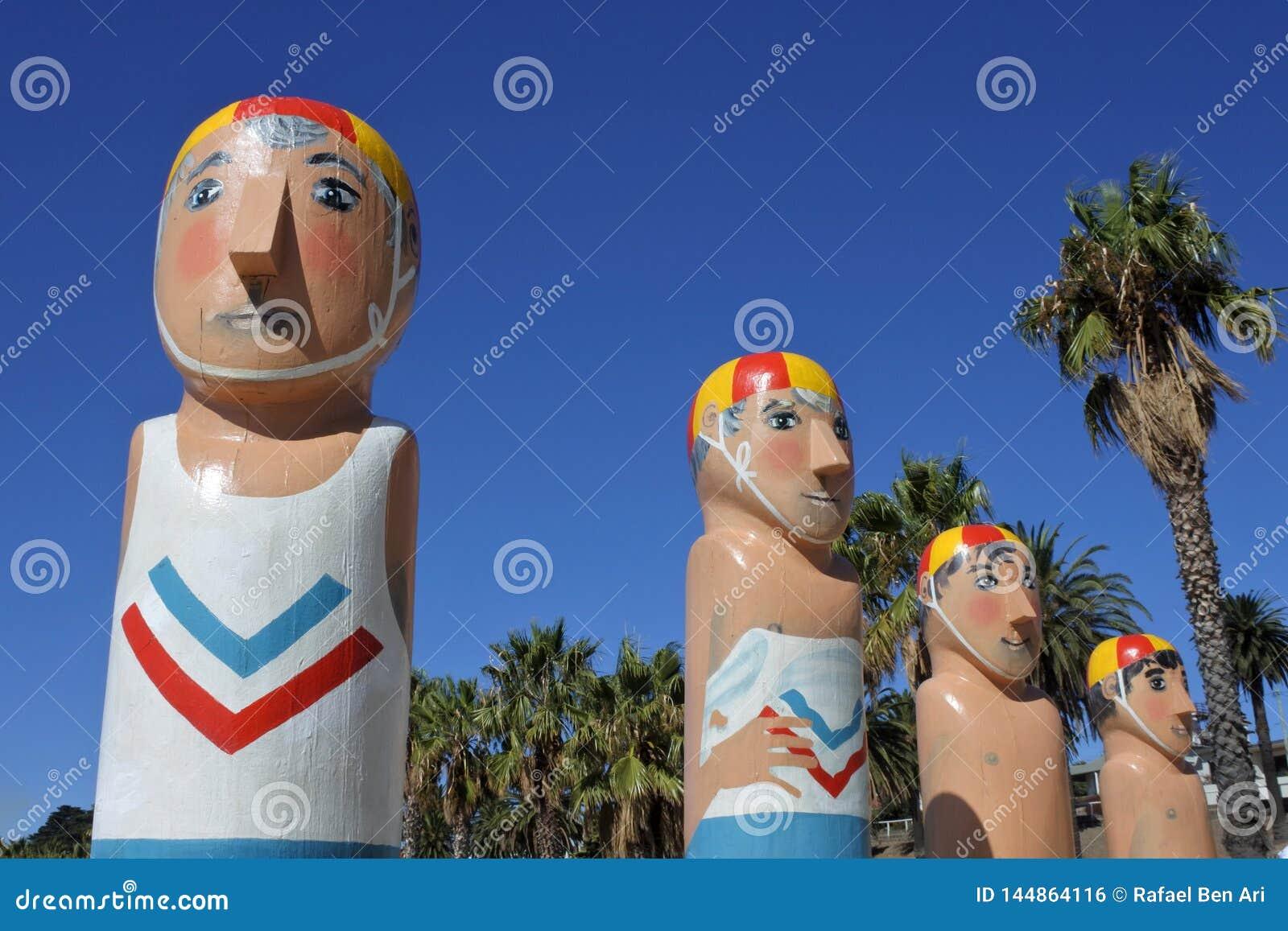 Baywalk Bollards sculptures in Geelong Melbourne Victoria Australia