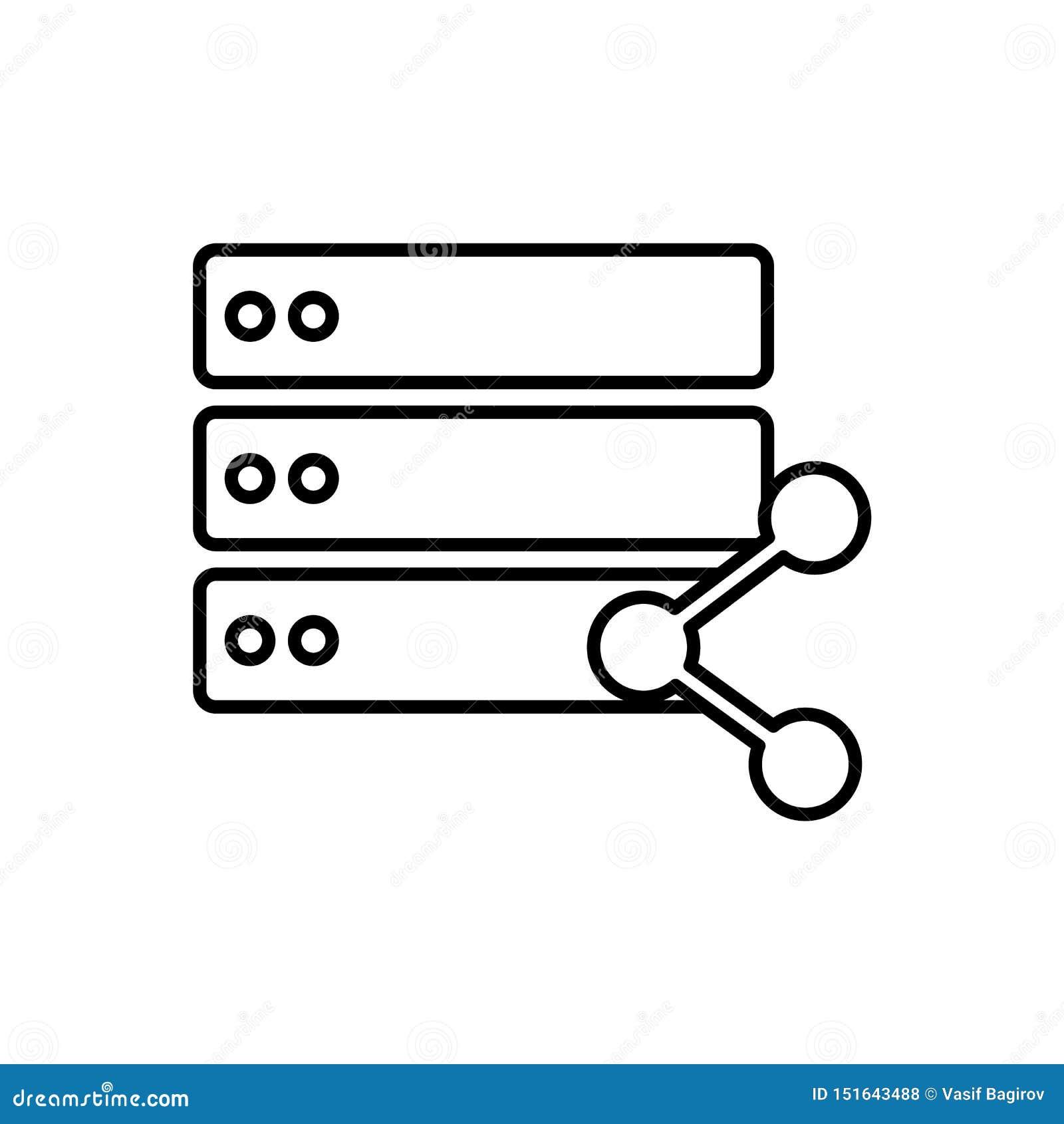 Baza danych, serwer, części ikona - wektor Baza danych wektoru ikona