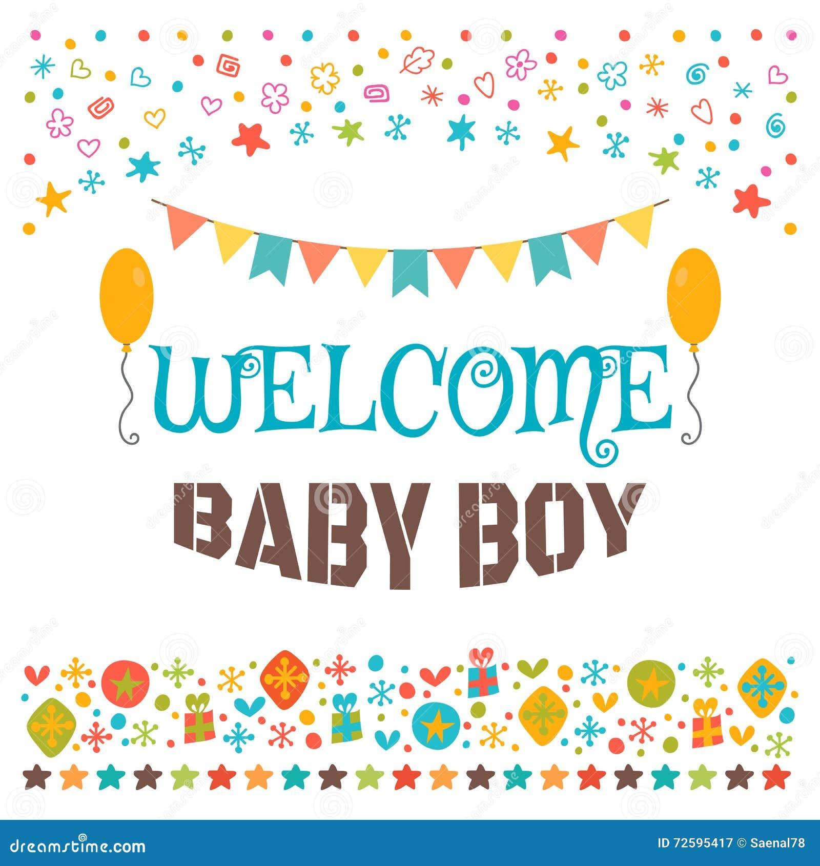 B b bienvenu carte d 39 annonce carte de voeux de f te de naissance illustr - Fete pour naissance bebe ...
