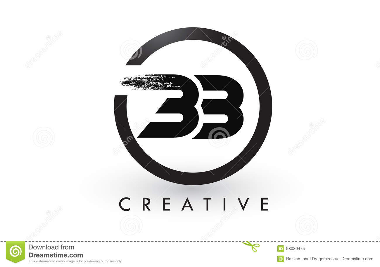 Bb brush letter logo design creative brushed letters icon for Bb design