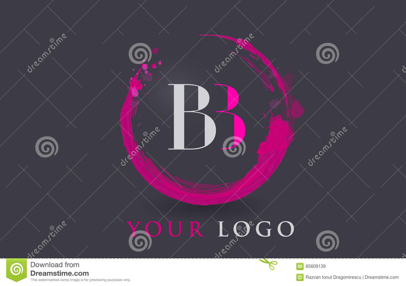 Bb Letter Logo Circular Purple Splash Brush Concept Stock Vector