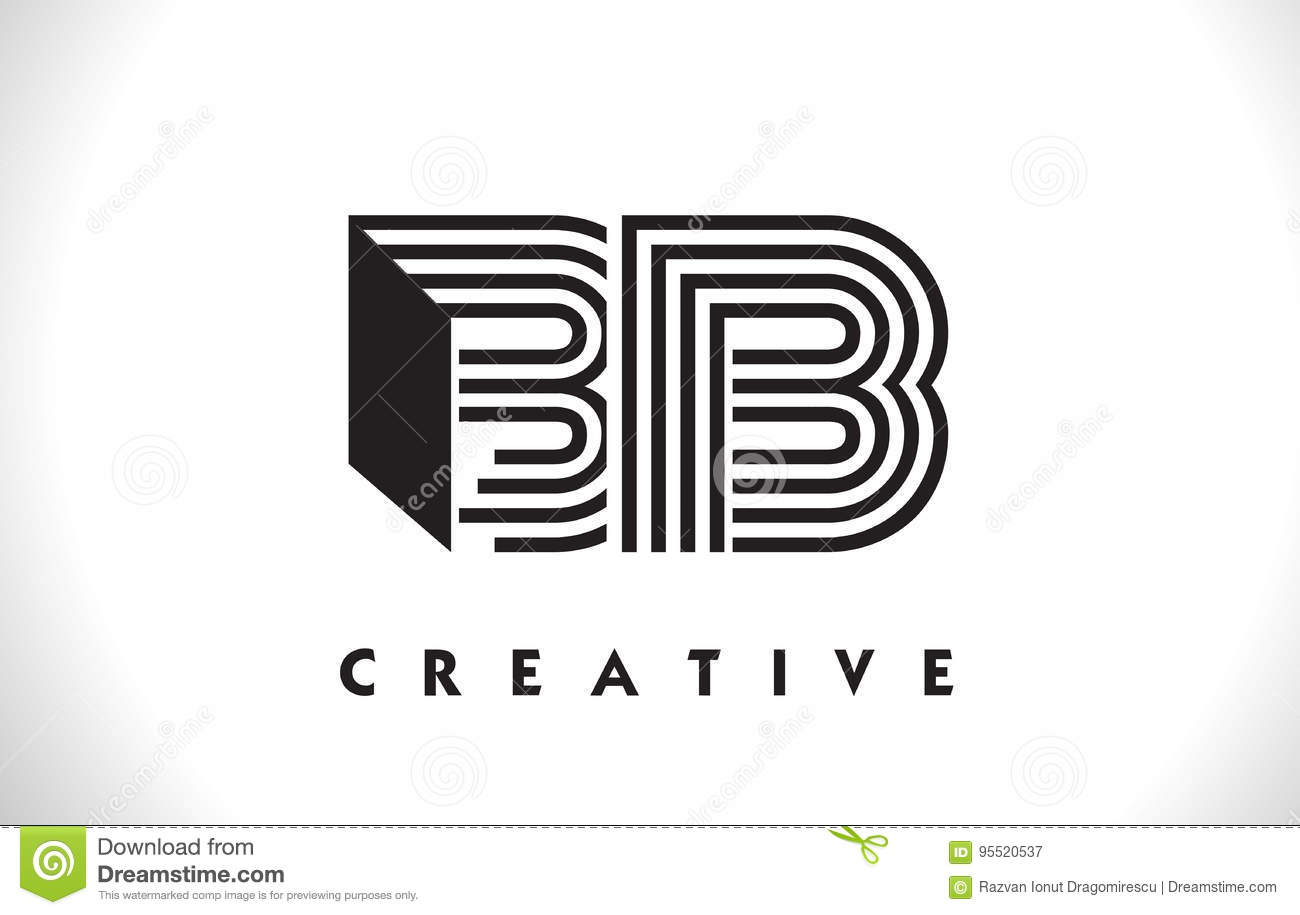 Bb Logo Letter With Black Lines Design Line Letter Vector Illus