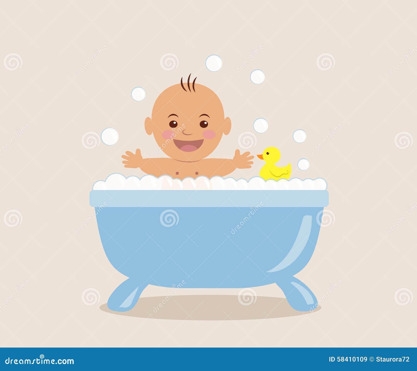 b b se baignant dans le bain avec la mousse illustration. Black Bedroom Furniture Sets. Home Design Ideas