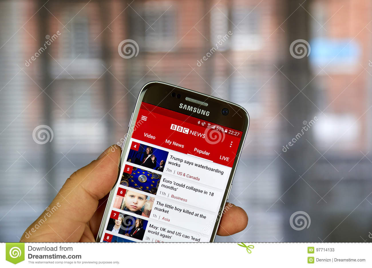 BBC News on Android phone editorial stock photo  Image of