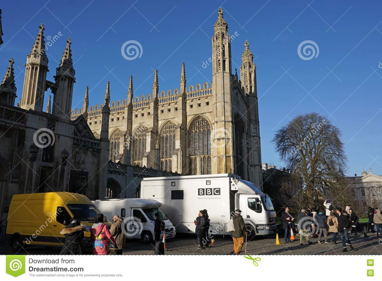 BBC Vans Outside King\'s College Chapel, Cambridge Editorial Stock ...