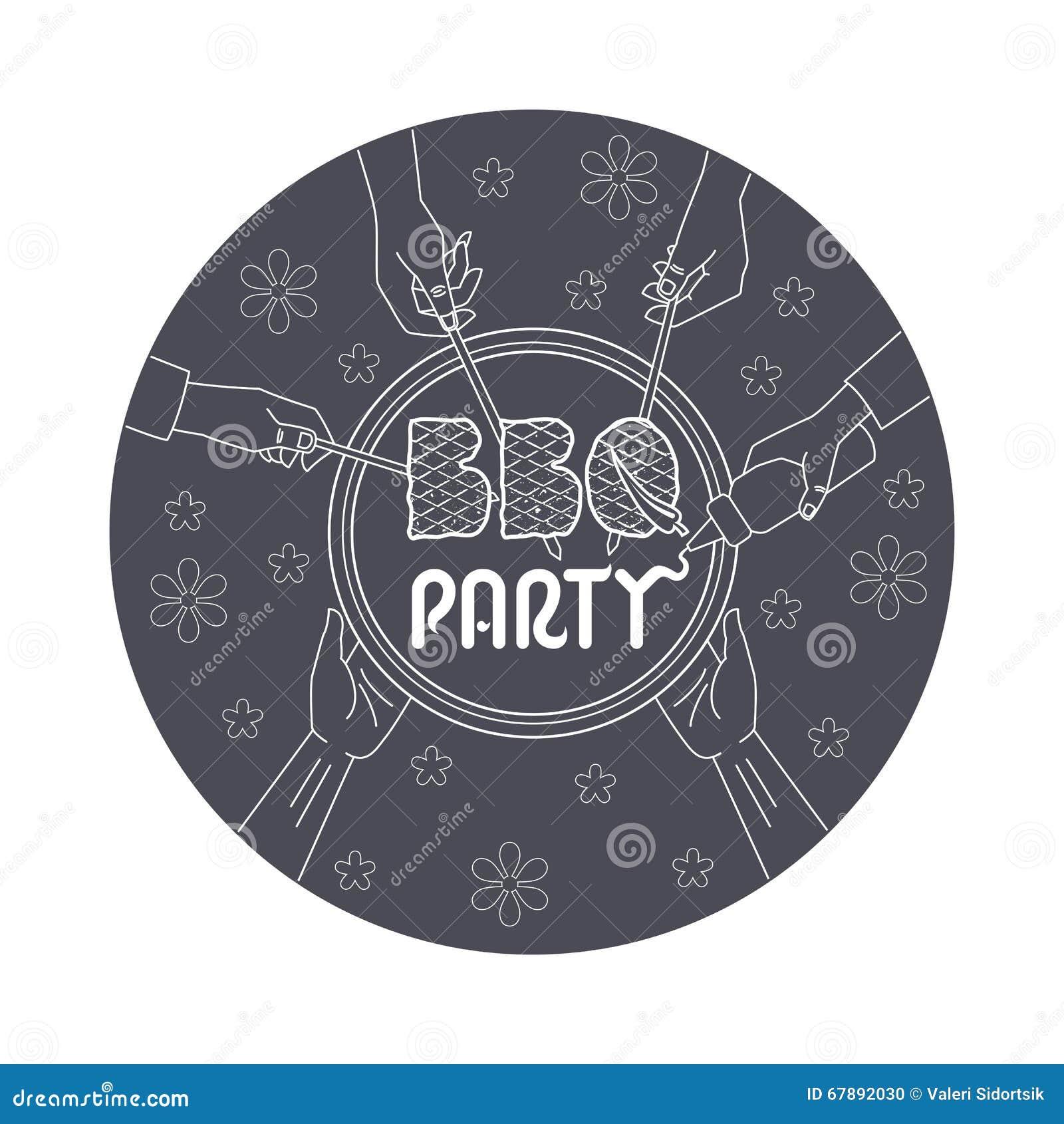 BBQ党邀请卡片例证