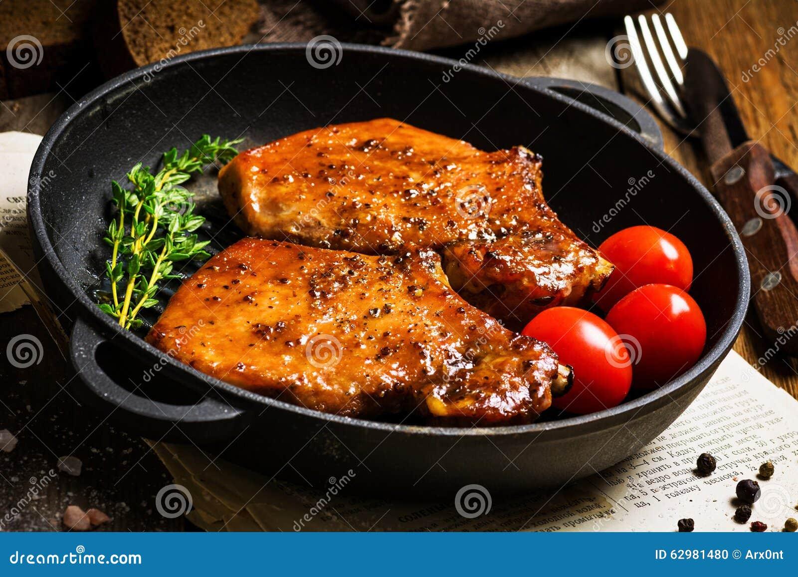 BBQ在甜釉的猪排