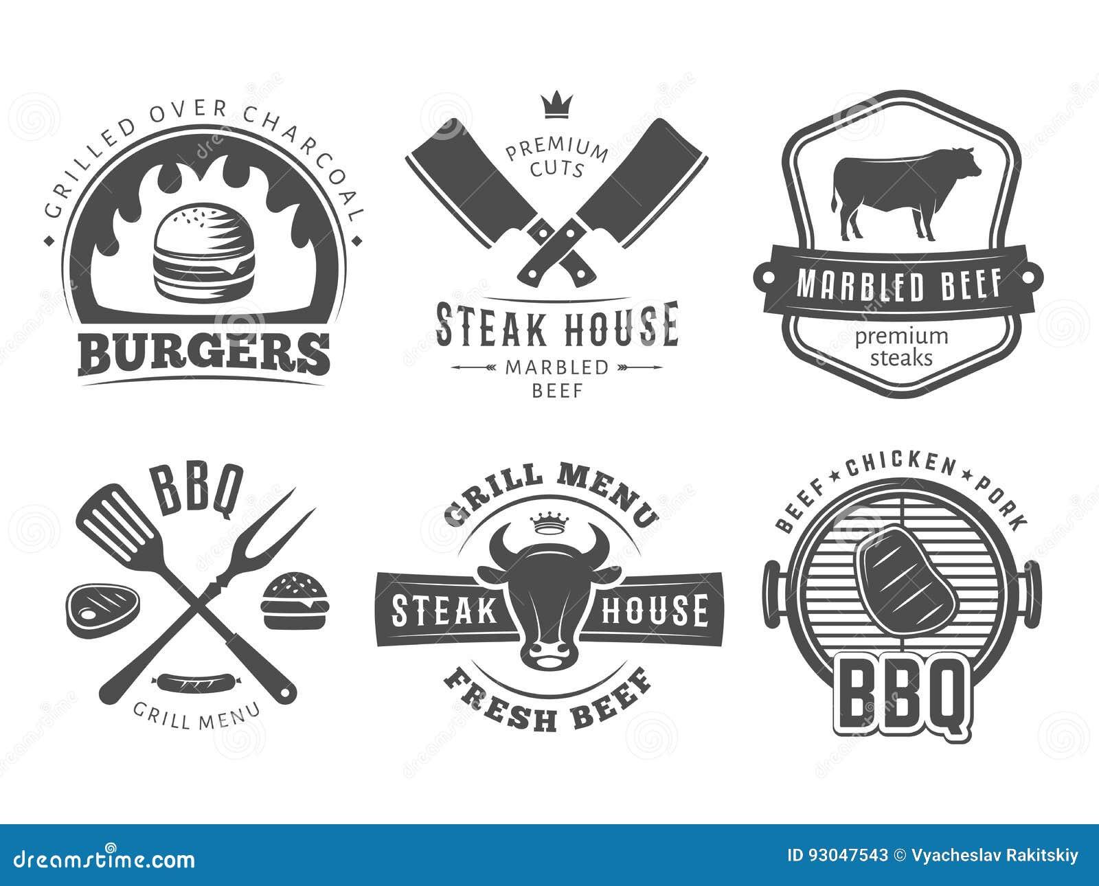 BBQ,汉堡,格栅徽章