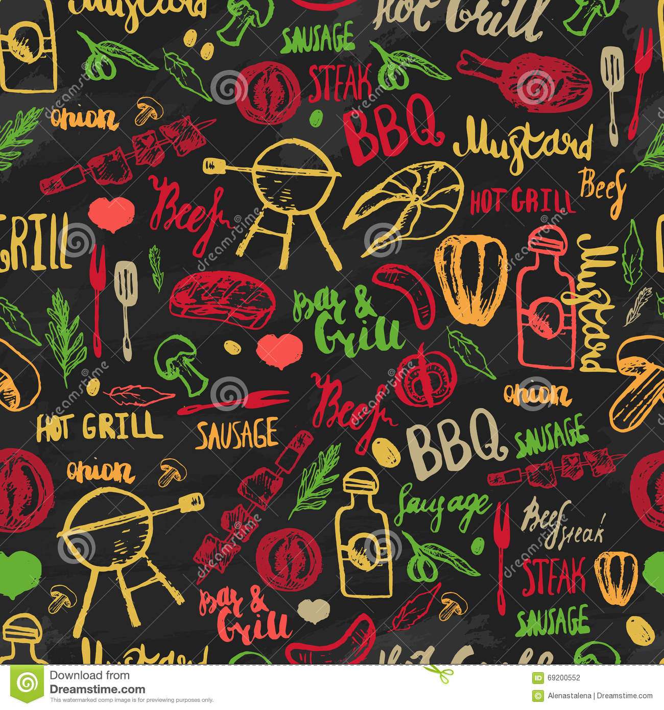Bbq Barbecue Grill Sketch Seamless Pattern. Colorful BBQ Design For ...