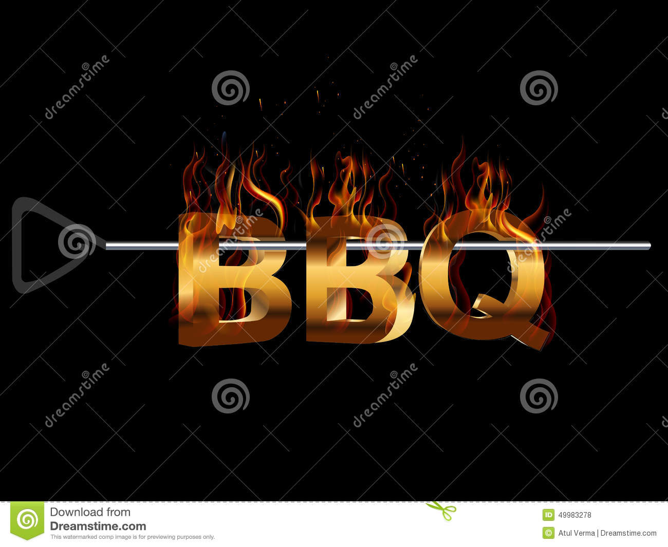 BBQ Barbecue Party invitation, fire flame smoking effect