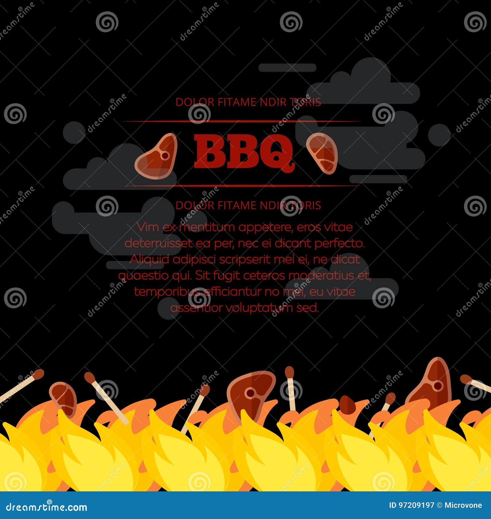 BBQ bawi się plakatowego projekt z ogieniem i mięsem