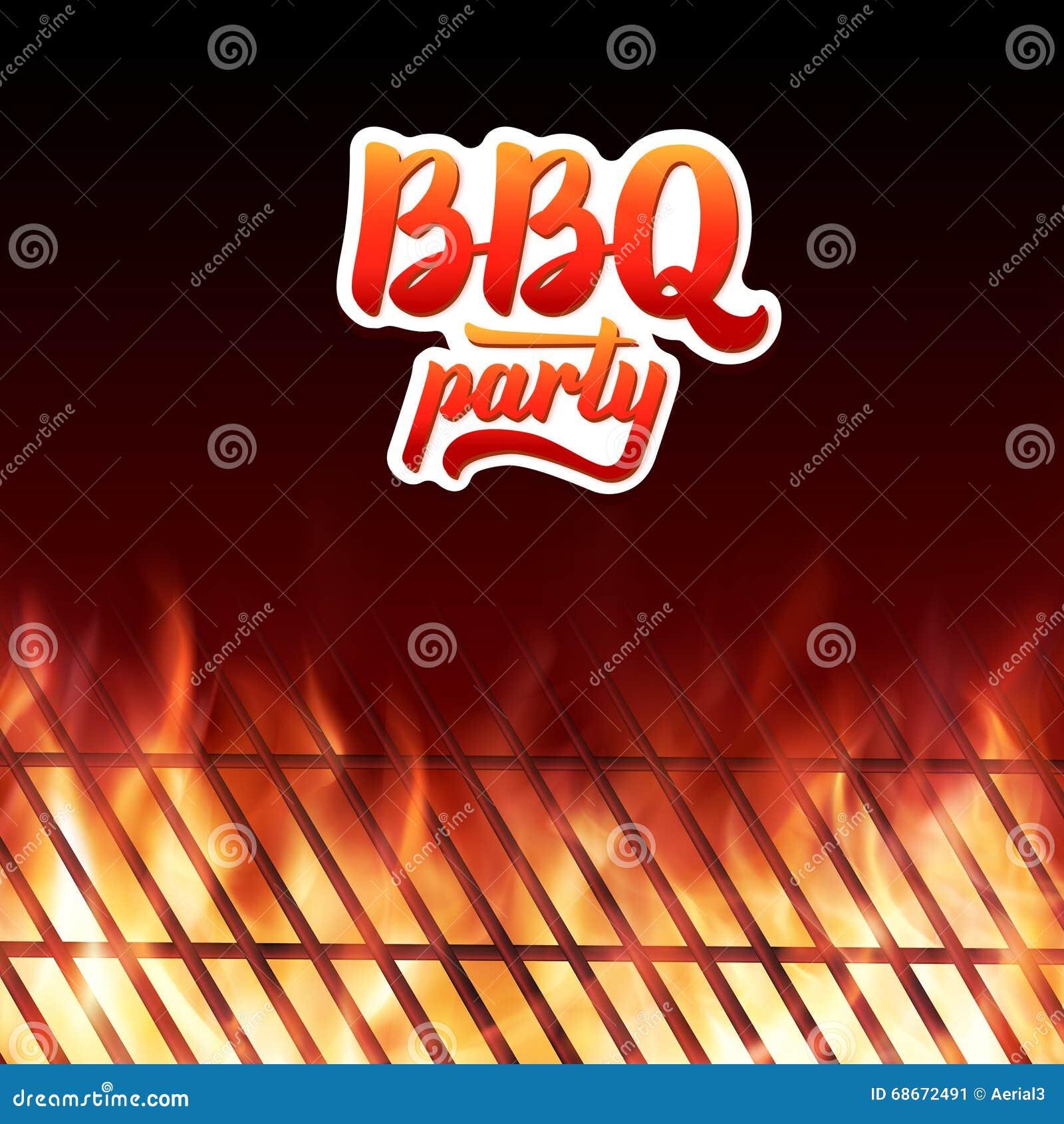 BBQ bawi się tekst, grill i palenie ogień płonie