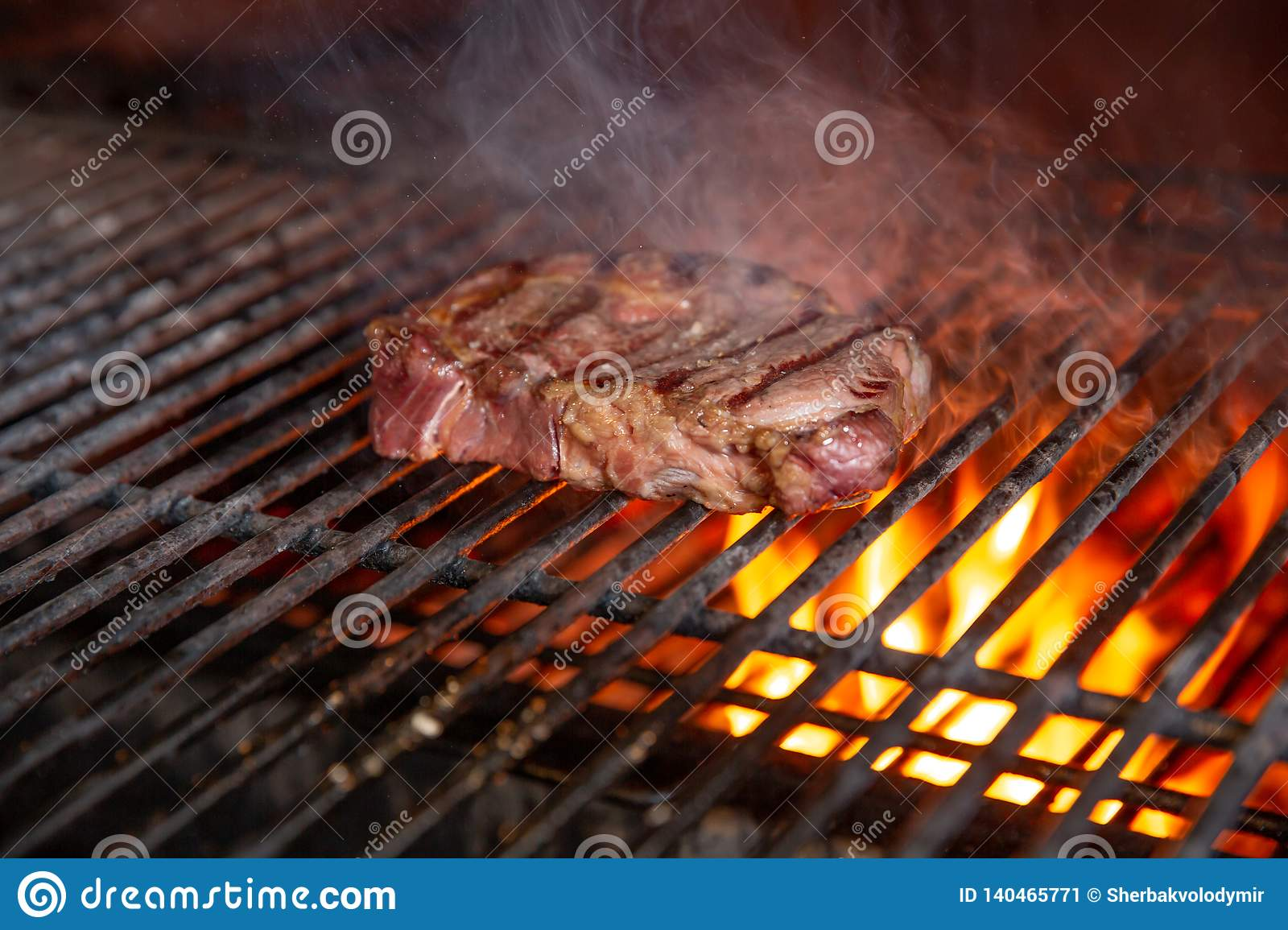 Bbq Beef Charcoal Grill Roast And Smoke Meat For Picnic Stock Image Image Of Flame Braai 140465771