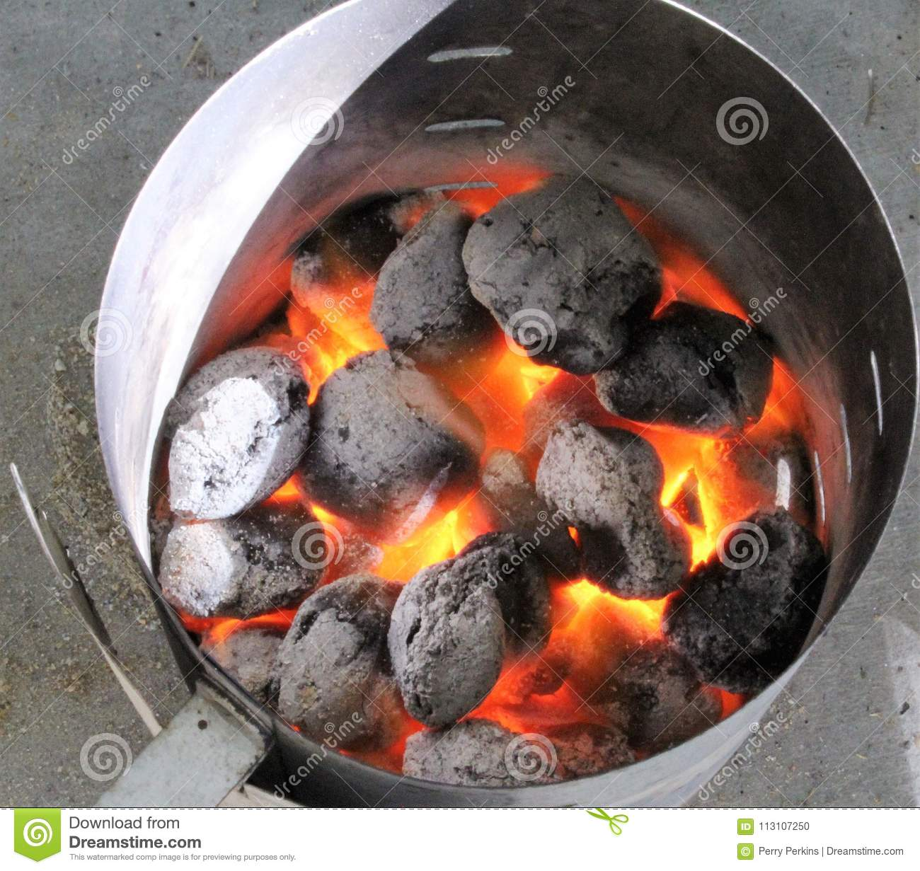 BBQ Chimney with Glowing Coals