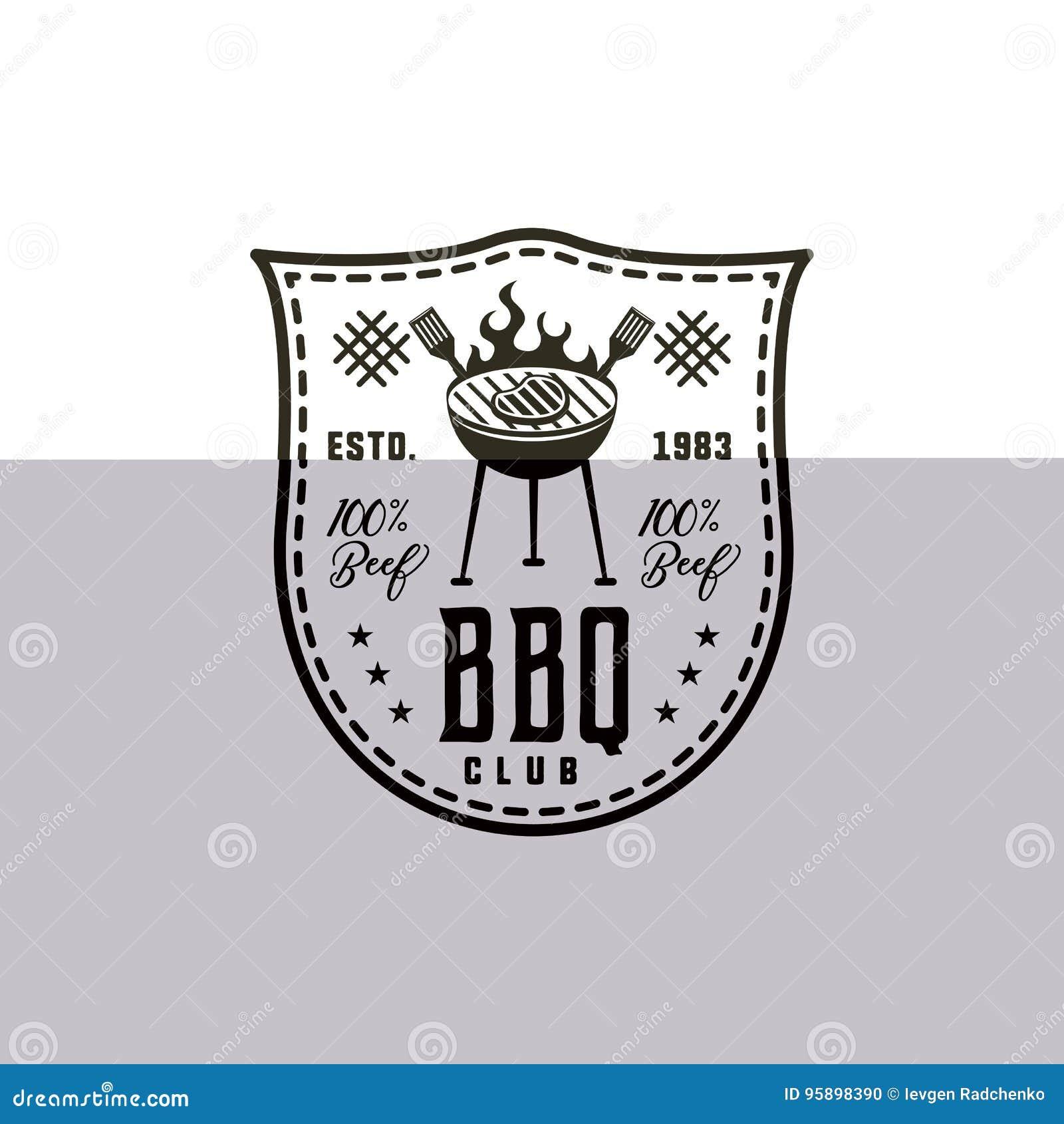 Bbq-Clubaufkleber in der einfarbigen Art Einladung zu grillen, Ereignis grillen Getrennt auf weißem Hintergrund Weinleseschwarzes