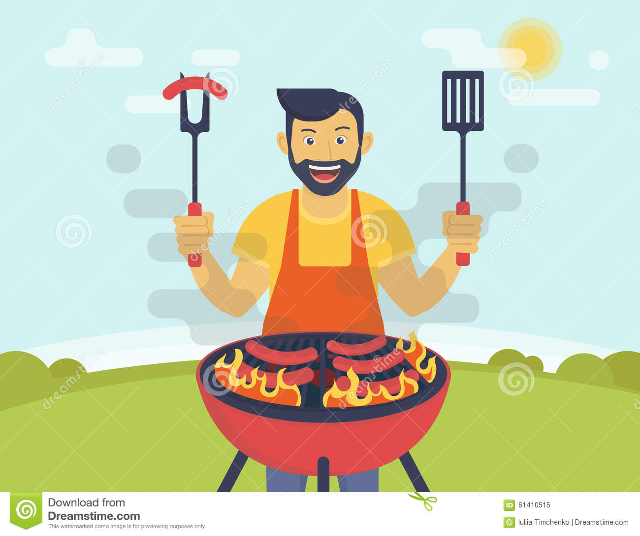 Bbq Cooking Party Stock Vector Image Of Beef Heat Pork