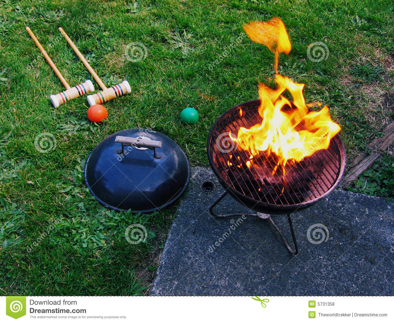 Bbq And Croquet In The Backyard Stock Photo Image Of Flame Ball
