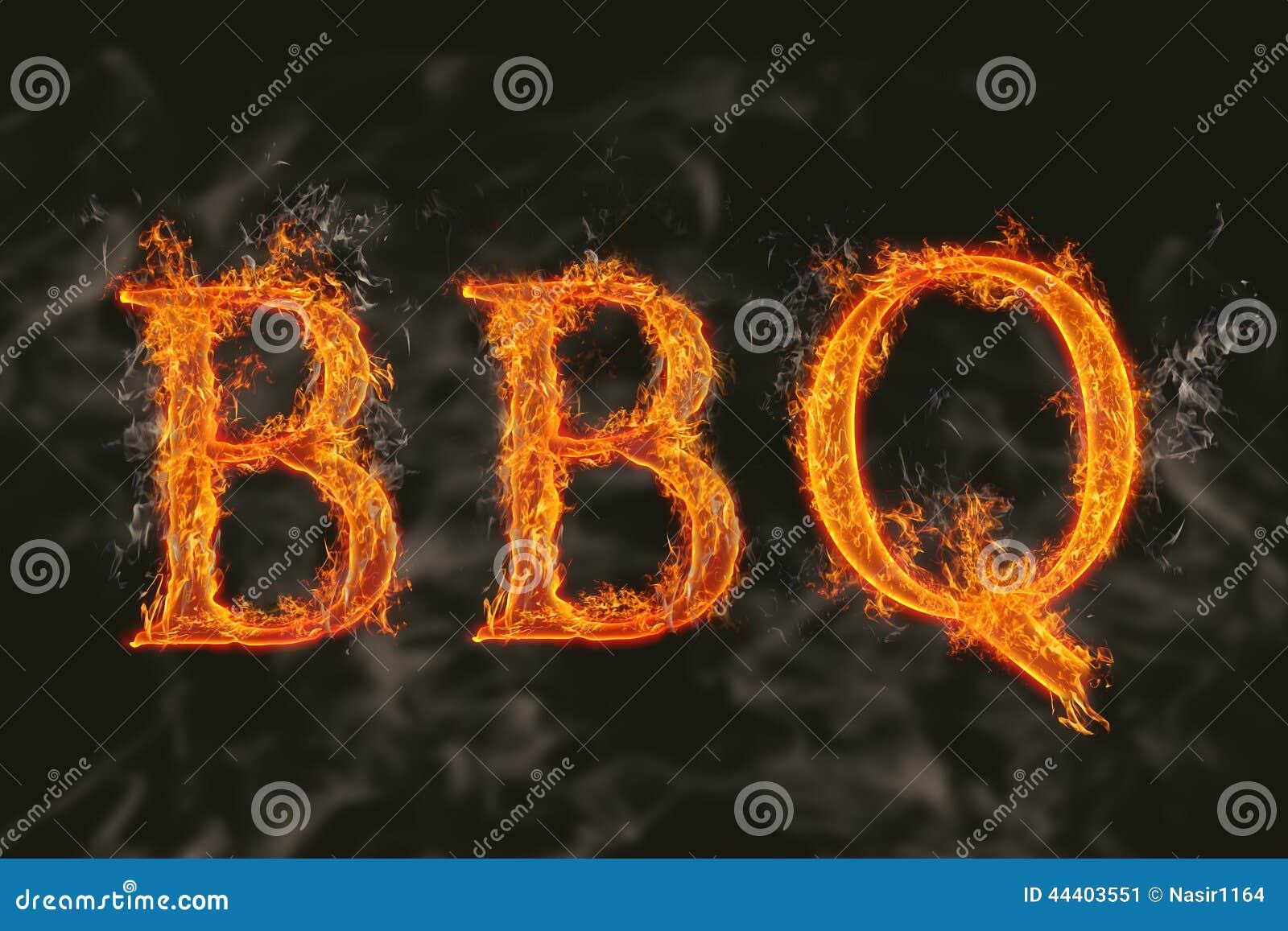 Bbq de la palabra con efecto de fuego llameante