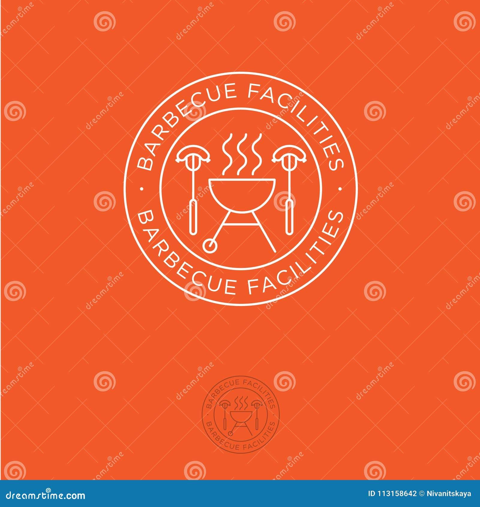 Bbq del logotipo Instalaciones para los emblemas de la barbacoa Ase a la parilla el horno y la bifurcación con las salchichas en