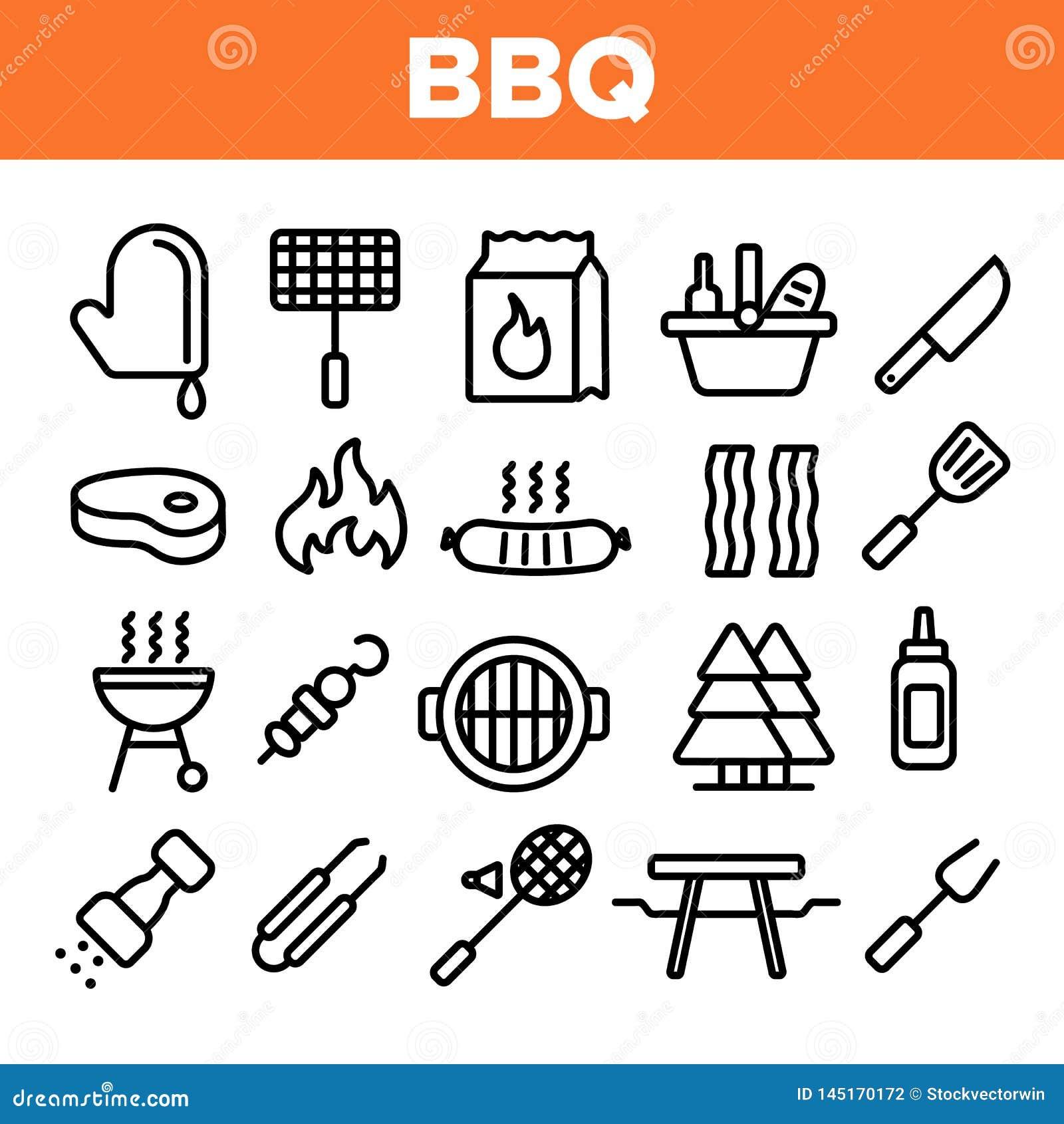 BBQ Equipment, Tools Linear Vector Icons Set