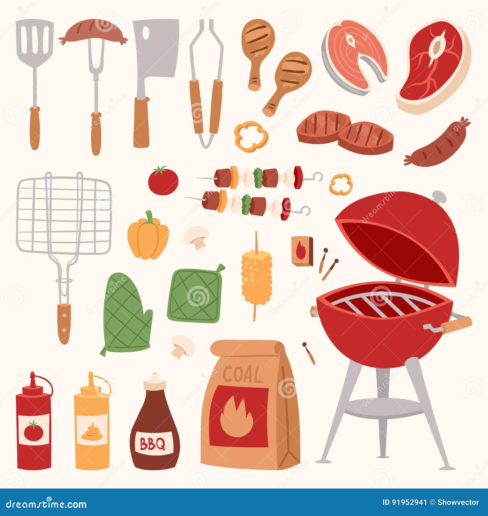 Bbq för produkter för matställe för för grillfesthem som eller restaurang rarty grillar illustrationen för lägenhet för kökutrust