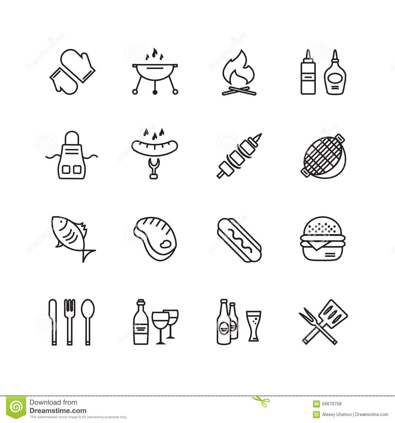 kitchen design symbols bbq and food icons vector set outdoor kitchen or stock 932