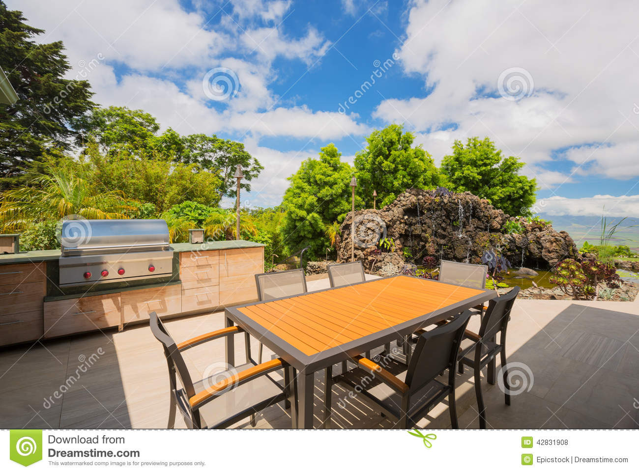 bbq grill on deck stock photo image of plant cooker 42831908