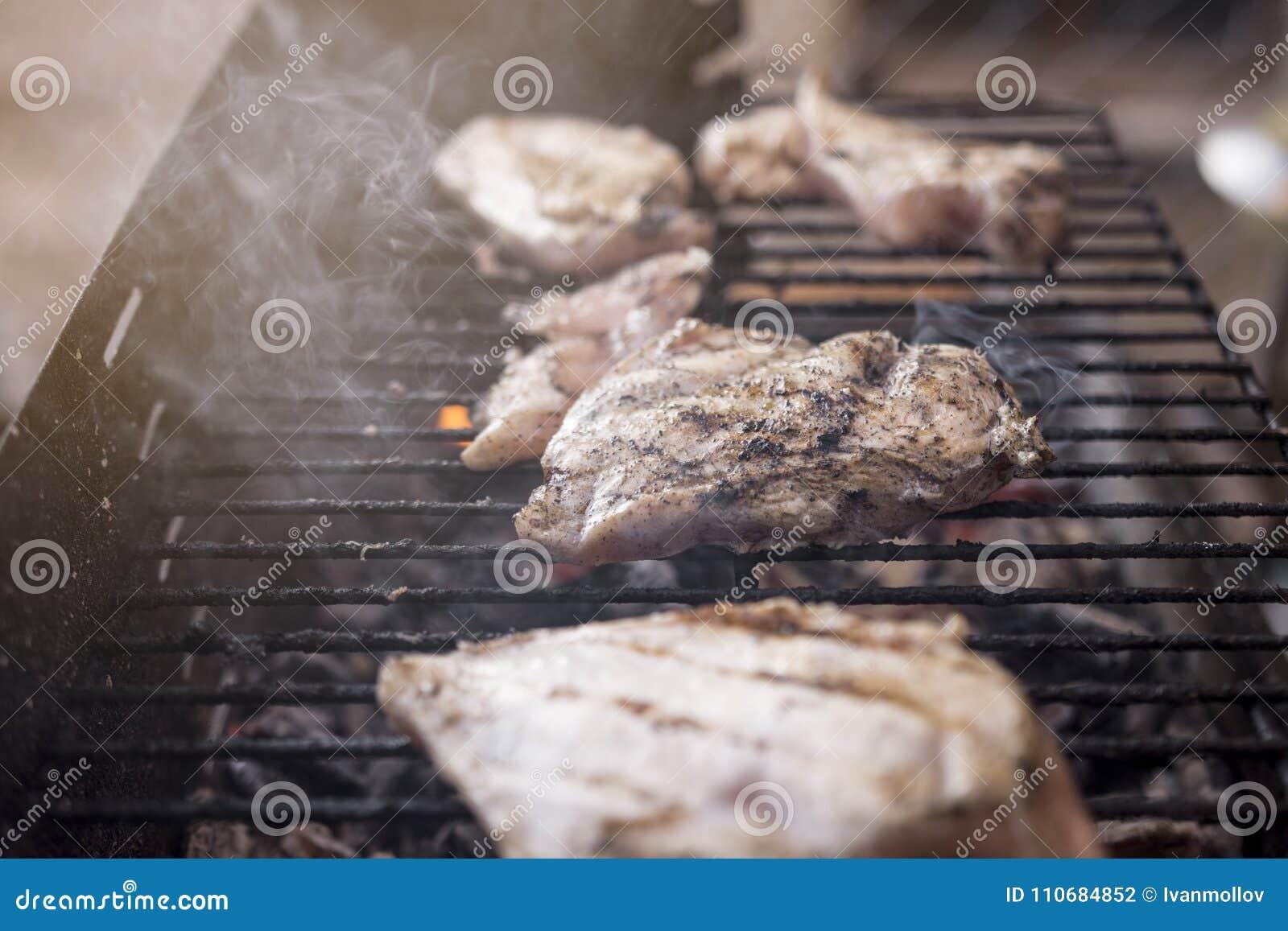 BBQ Grill met het Smakelijke Vlees van de Kippenborst