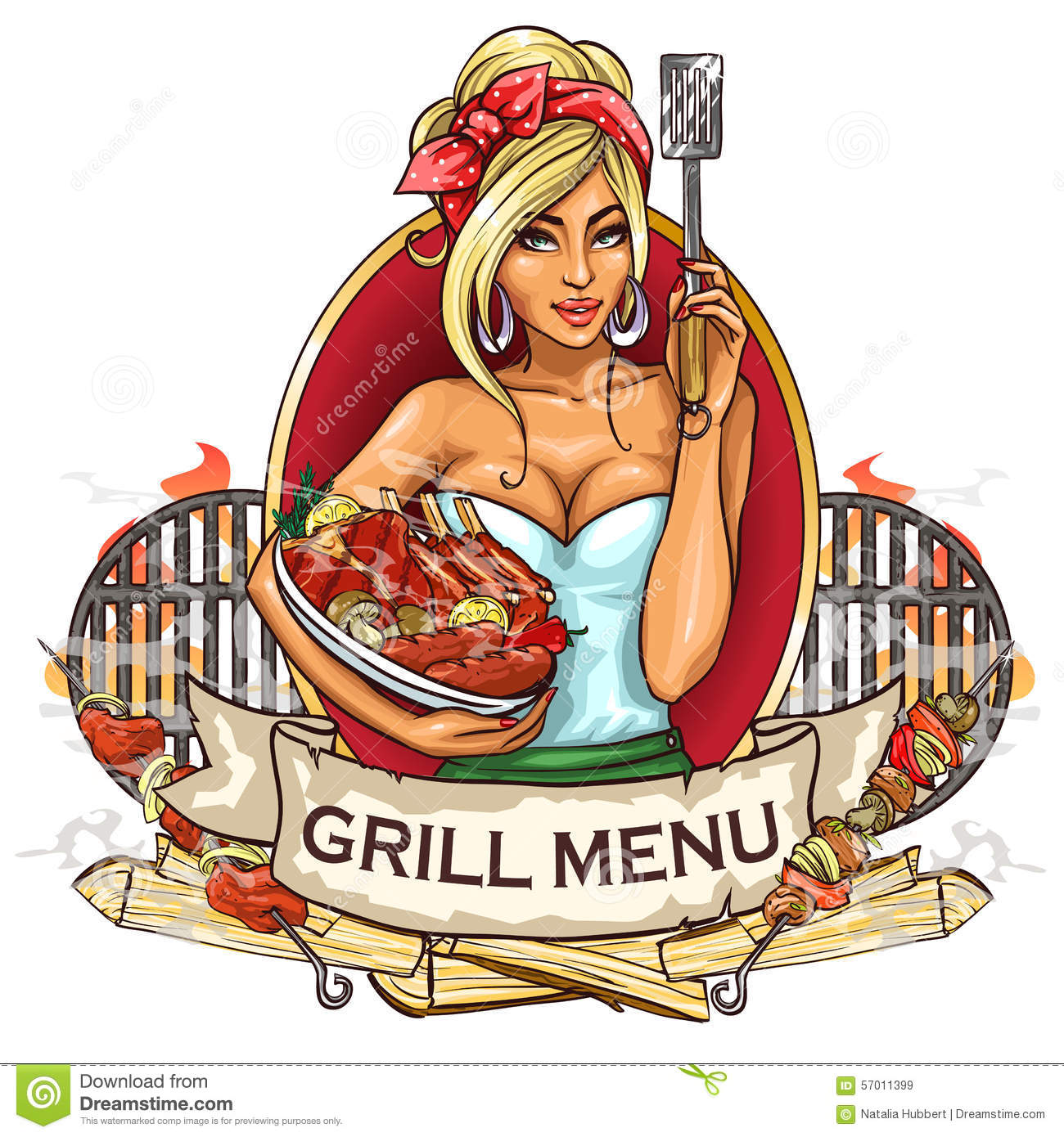 bbq grill party label design stock vector