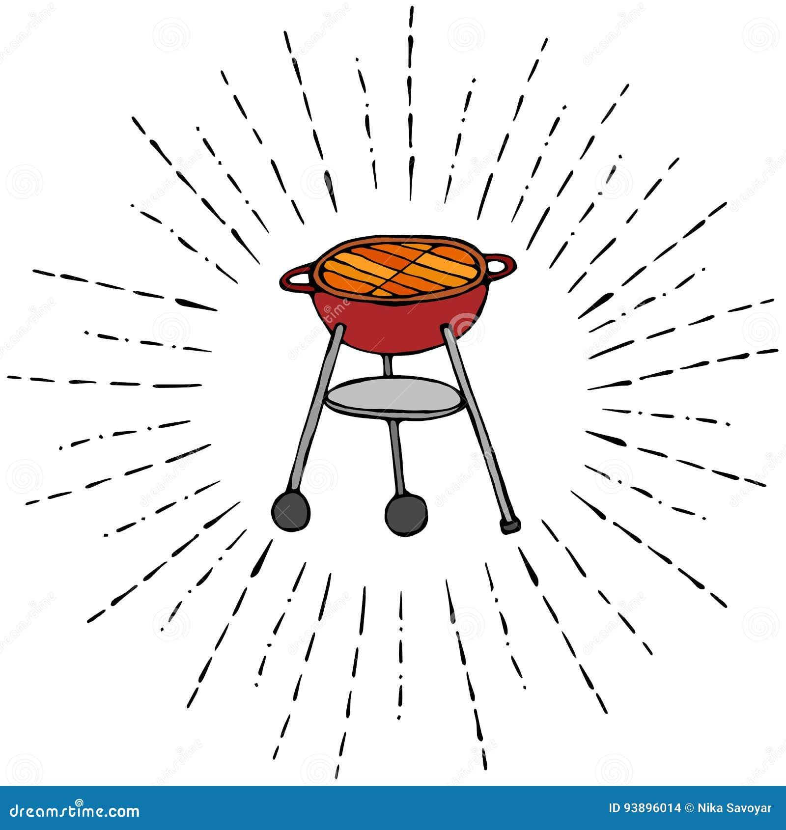 BBQ grill w słońce promieniach dla lata przyjęcia menu pojedynczy białe tło Realistyczna ręka Rysujący Doodle kreskówki stylu nak
