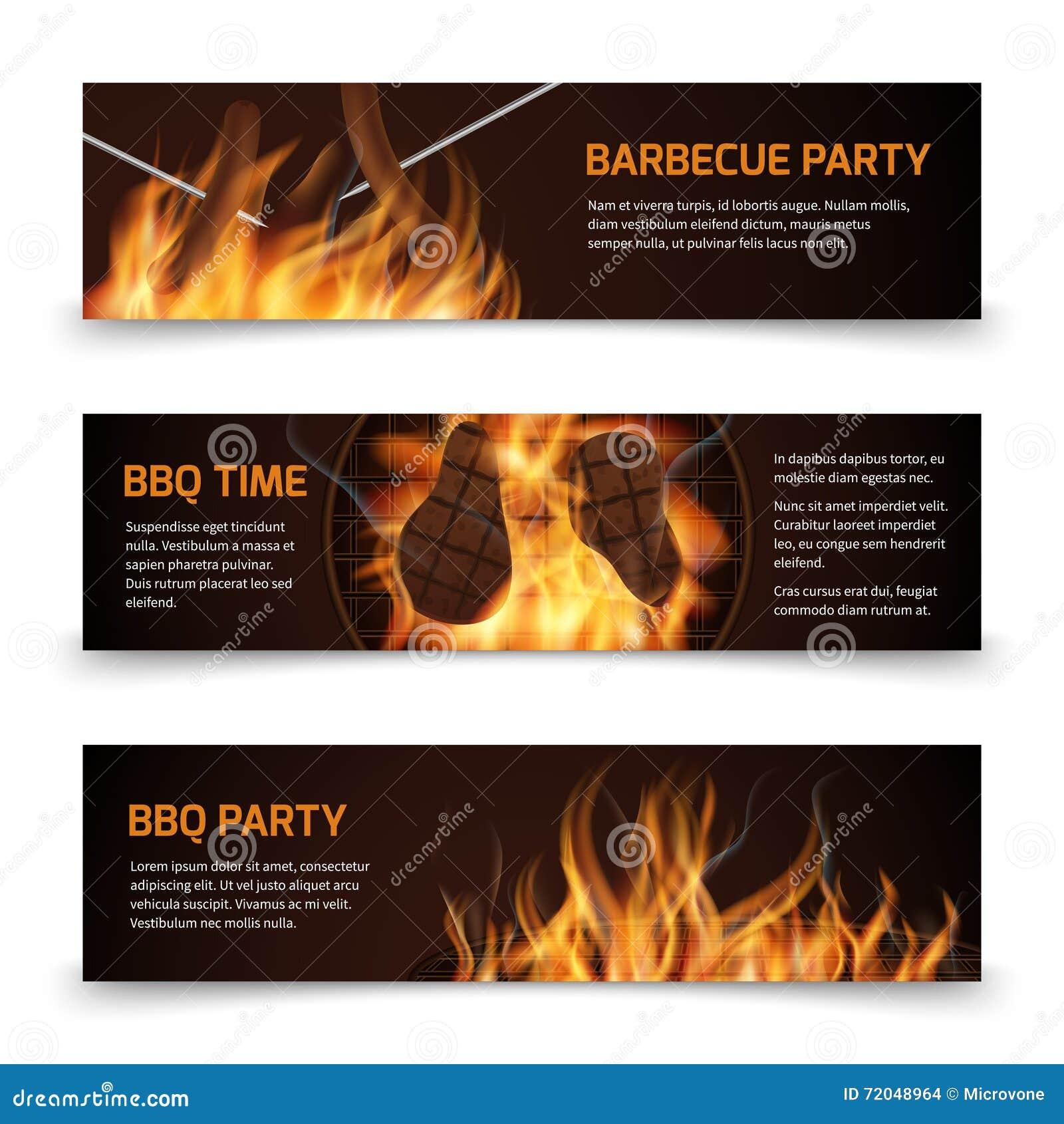 Bbq grilla przyjęcia horyzontalni wektorowi sztandary ustawiający z realistycznym gorącym ogieniem