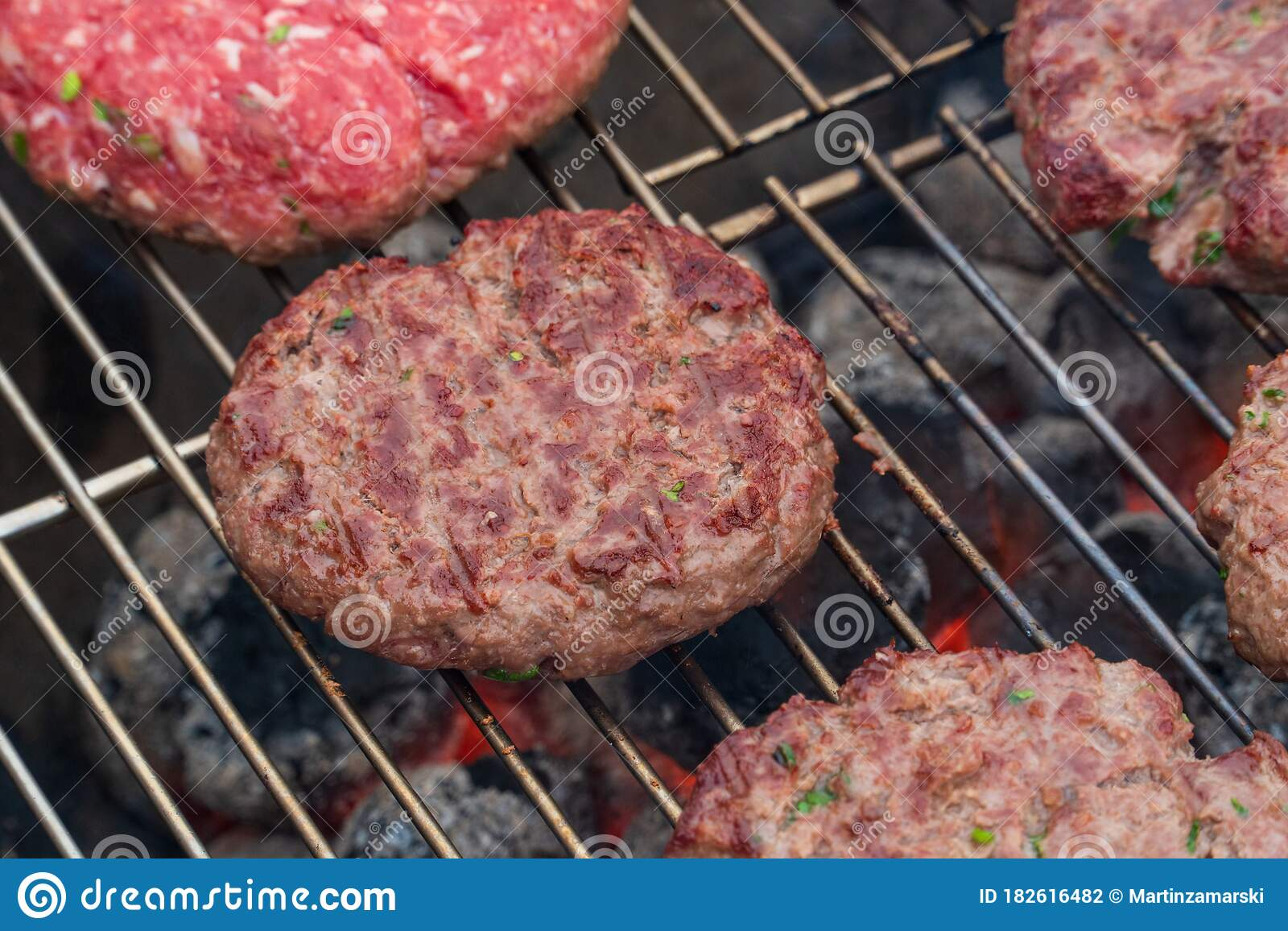 Bbq Grilled Burgers Patties On The Hot Flaming Charcoal Grill Top View Cookout Food Good Snack For Outdoor Party Or Picnic Stock Photo Image Of Grilled Grilling 182616482