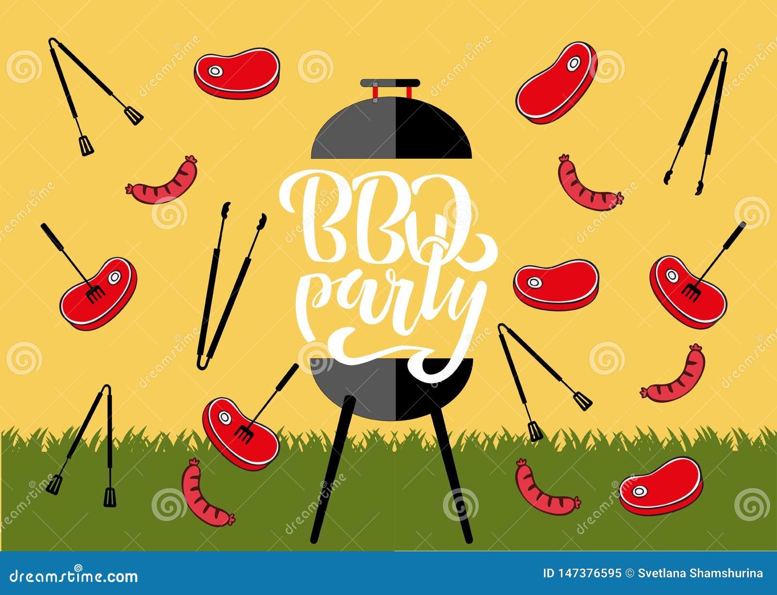 "BBQ grillin Chillin ""και ""σημάδι πινάκων κιμωλίας Συρμένη χέρι τυπογραφία που γράφει BBQ το κόμμα Σχάρα σχαρών με τις λαβίδες και"