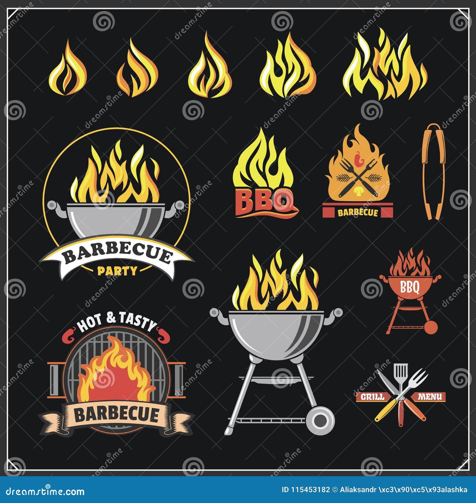 BBQ i grill przylepiamy etykietkę set Grillów emblematy, odznaki i projektów elementy,
