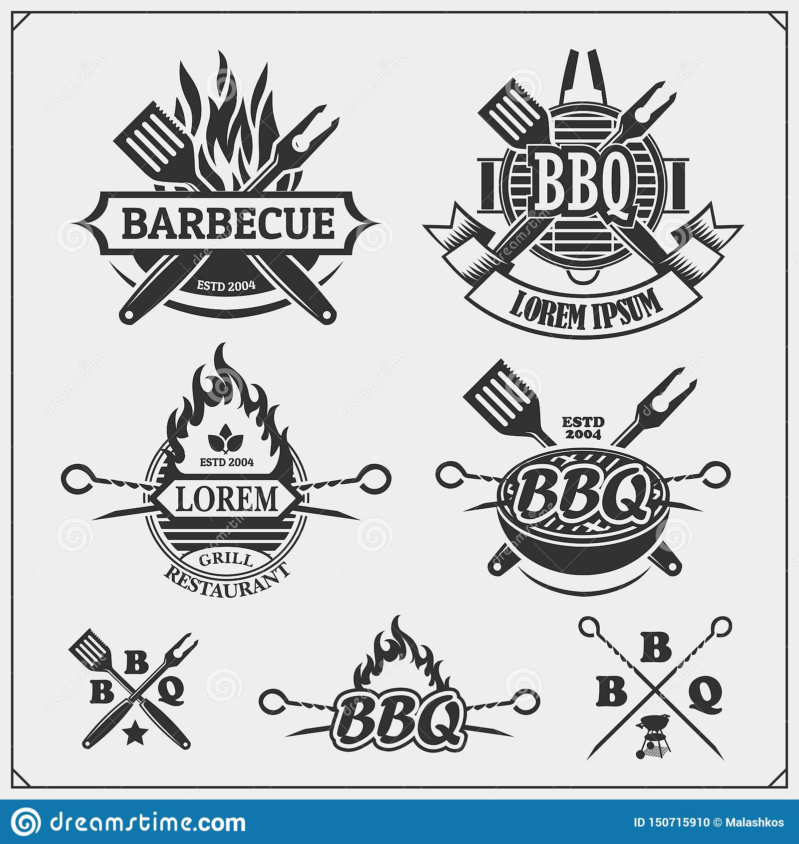 BBQ i grill przylepiamy etykietk? set Grill?w emblematy, odznaki i projekt?w elementy,