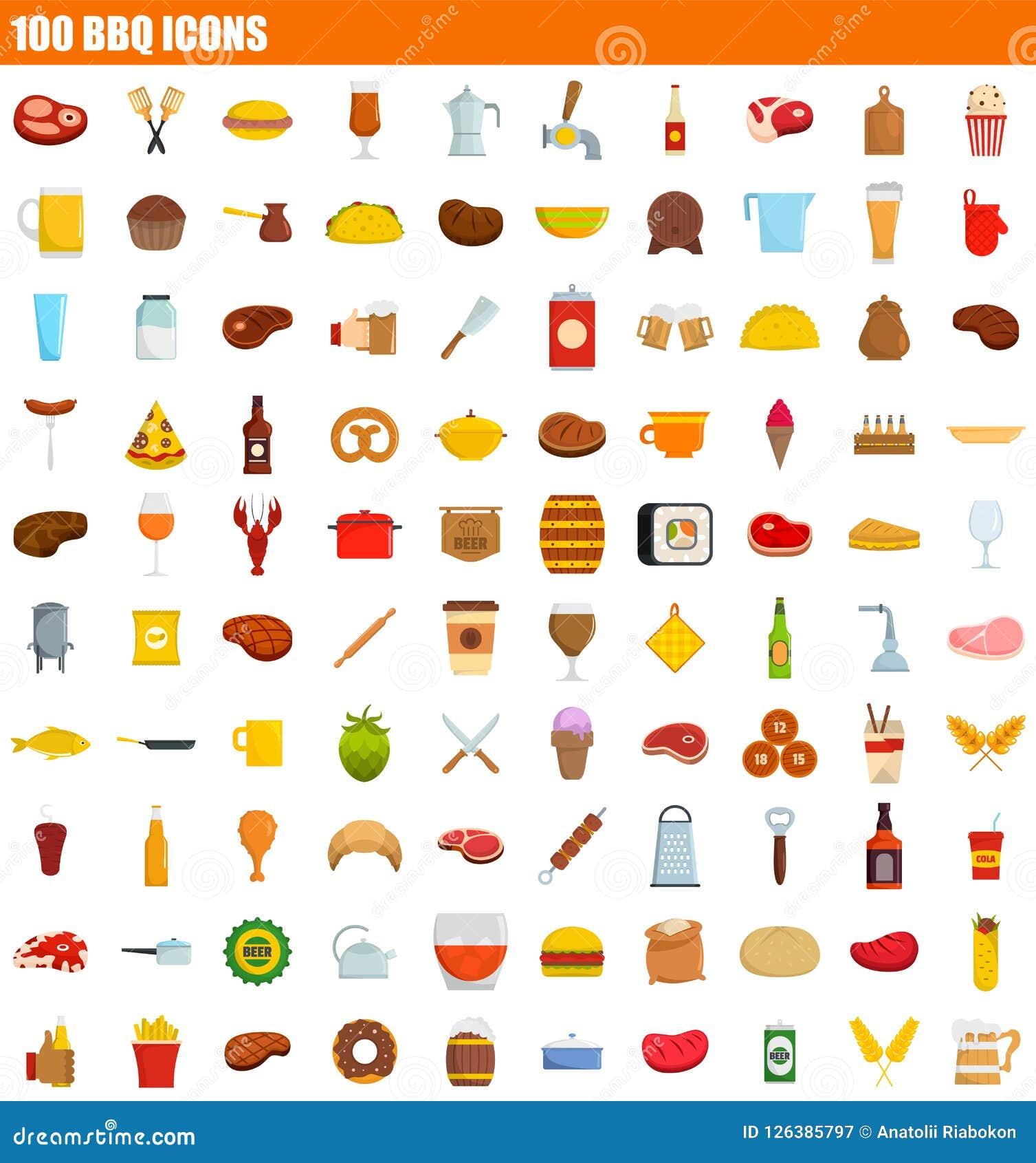 100 bbq ikony set, mieszkanie styl