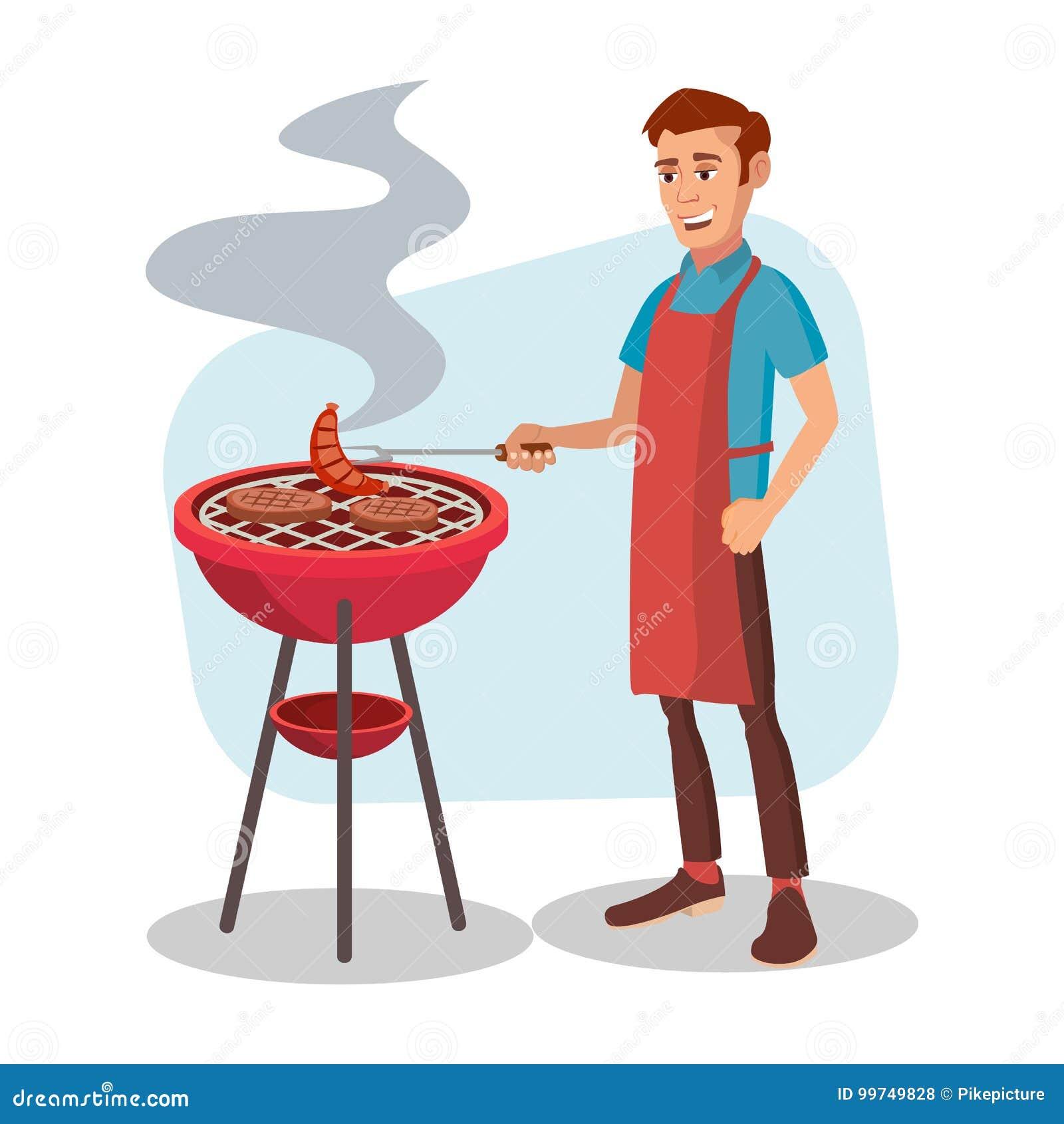 BBQ Kulinarny wektor Mężczyzna Cook grilla mięso Na Bbq Płaska postać z kreskówki ilustracja