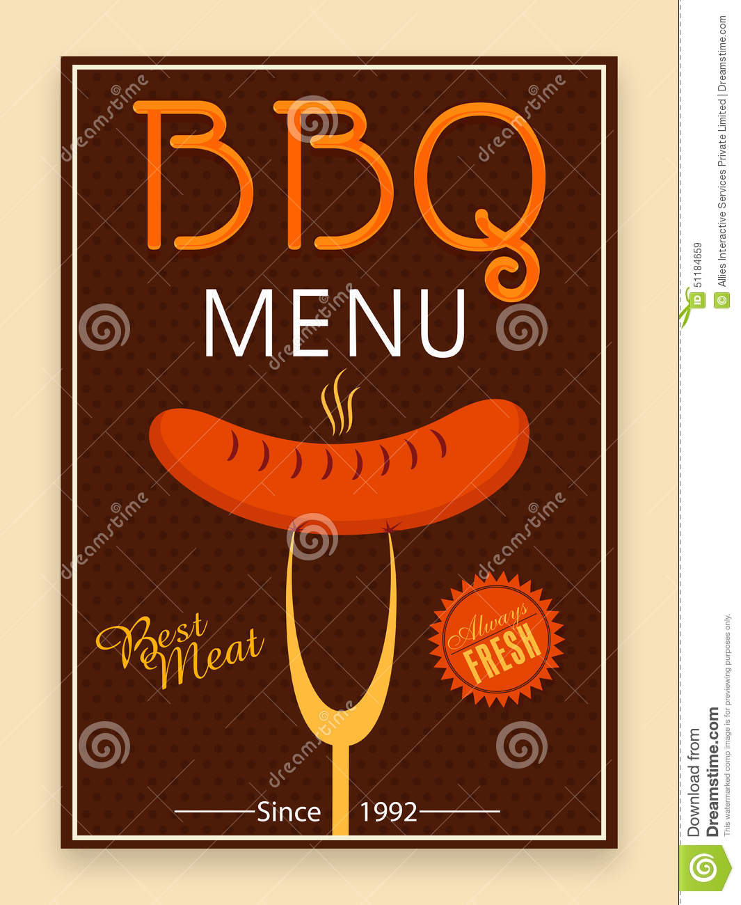 bbq menu card template or flyer design stock photo image 51184659. Black Bedroom Furniture Sets. Home Design Ideas