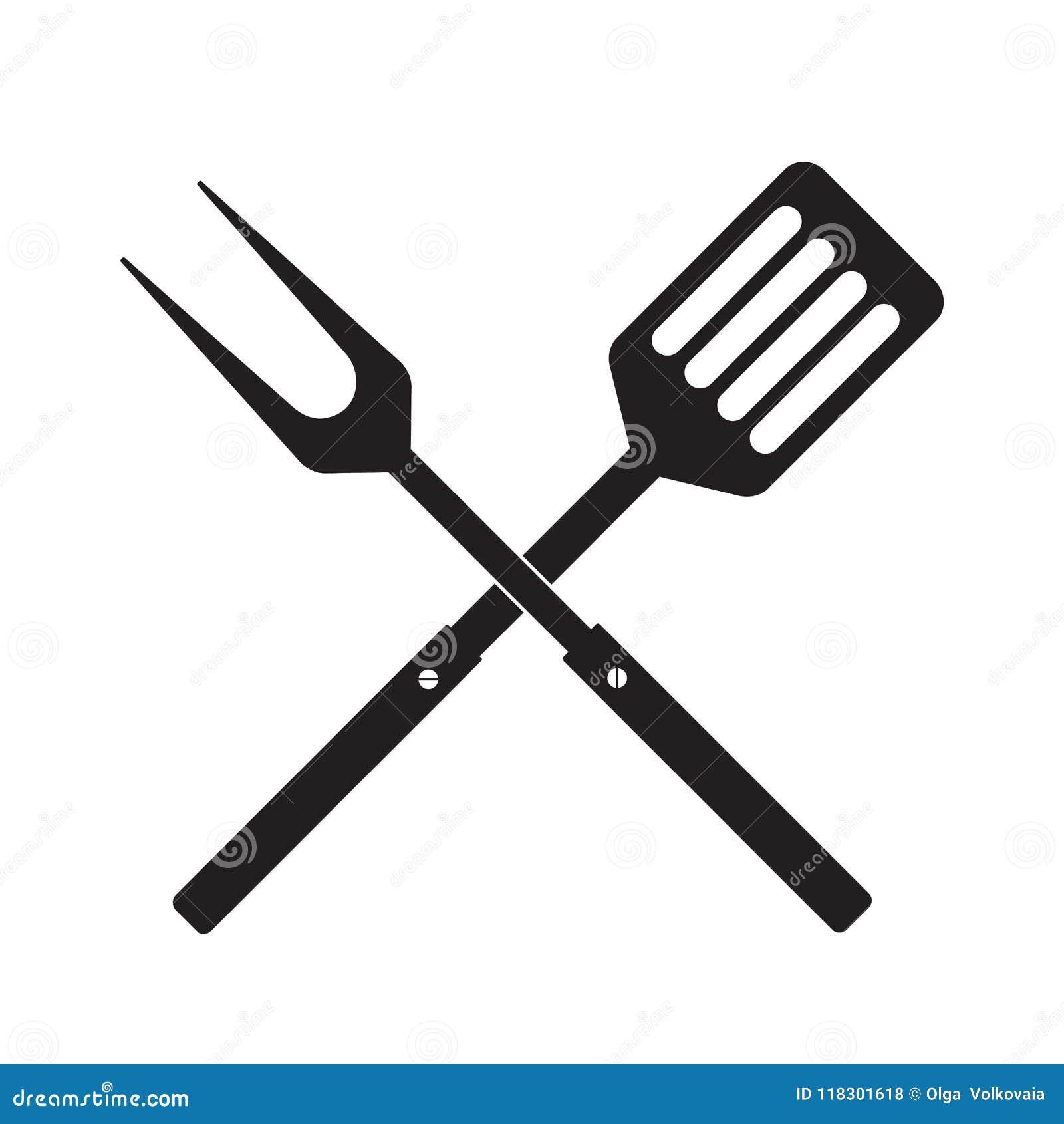 Bbq- oder Grillwerkzeugikone Gekreuzte Grill-Gabel mit Spachtel