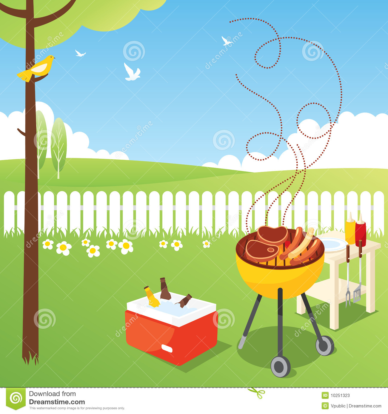 Enjoy the birds and flowers in the spring of barbecue.