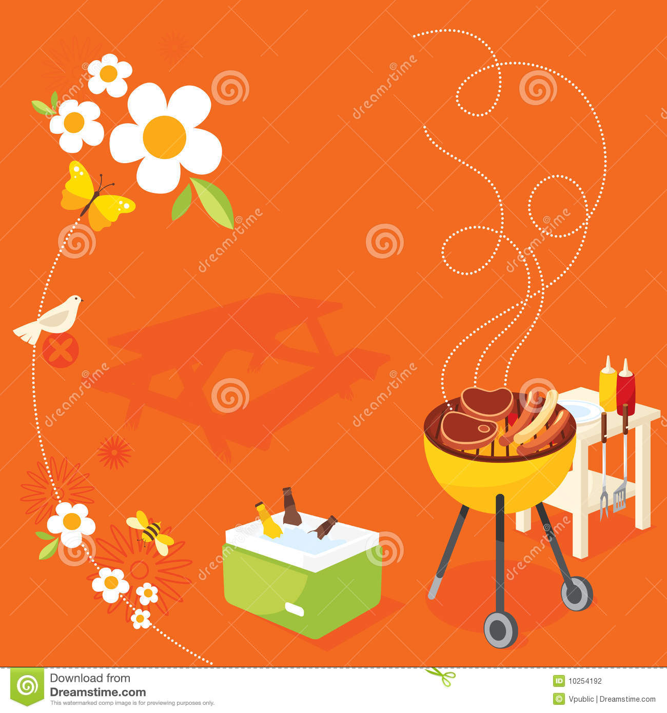 bbq party stock vector. illustration of fish, holiday - 10254192
