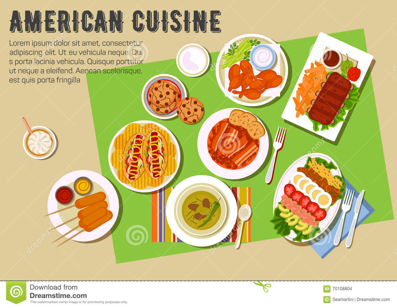 Bbq party flat icon with american cuisine dishes stock for American cuisine