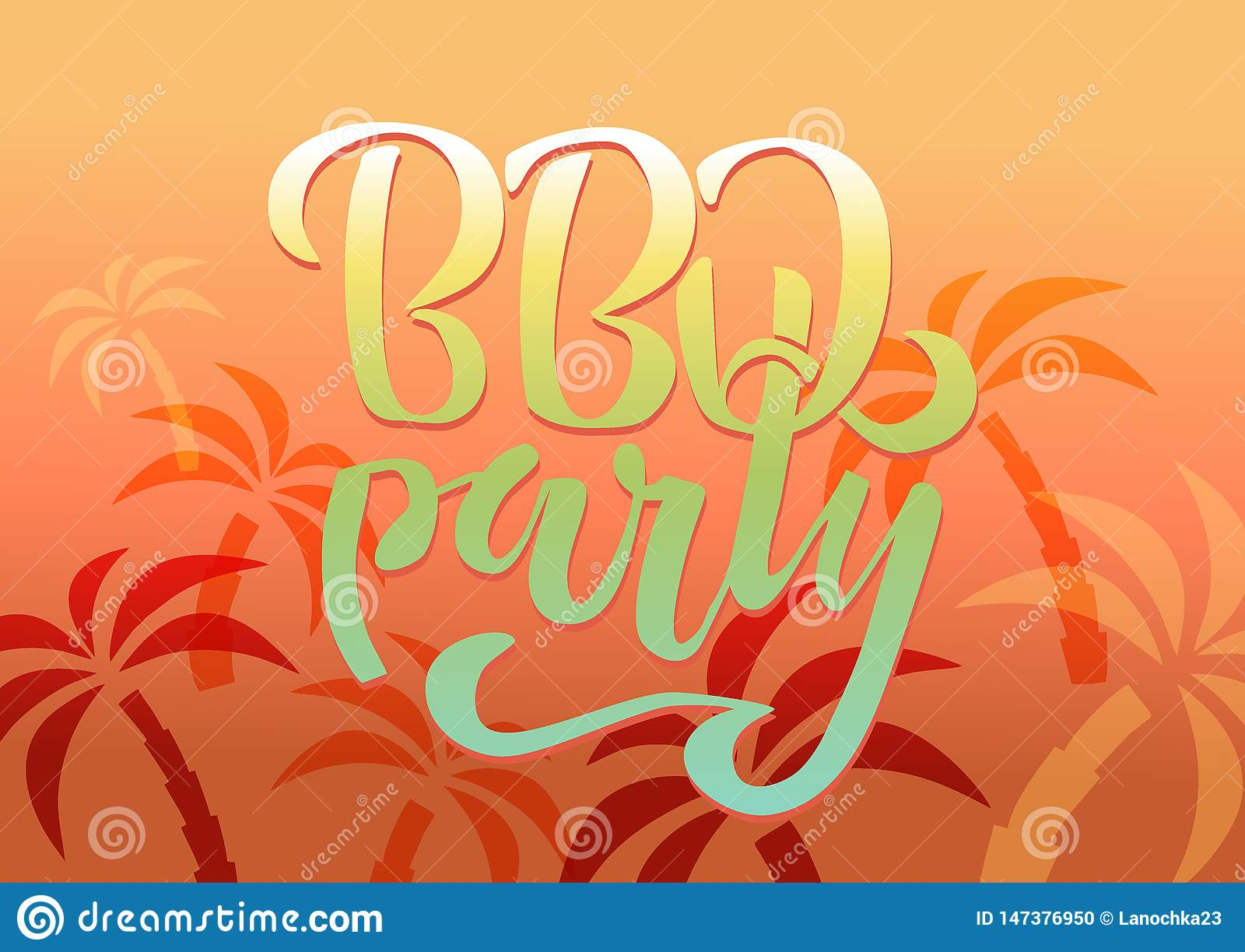BBQ party hand lettering logo vector design template. Gradient Barbecue text typographic label isolated on white background with